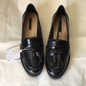 Zara Women's Black Moccasin Loafers with Tassel,38